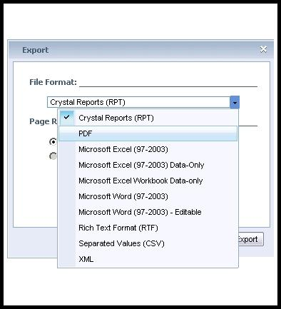 Export format Options You can export successful instances of